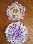 Click here to enlarge image and see more about item potholders80603: Vintage Crocheted Purple Potholders