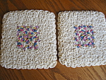 Click here to enlarge image and see more about item potholders80604: Two Matched Vintage Crocheted Potholders