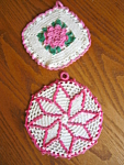 Click here to enlarge image and see more about item potholders80605: Retro Pink Crocheted Potholders