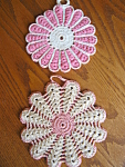 Click here to enlarge image and see more about item potholders80608: Vintage Pink Crocheted Potholders