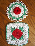 Click here to enlarge image and see more about item potholders80610a: Crocheted Potholders