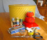 Click here to enlarge image and see more about item princess60409: Vintage Princess Sewing Basket