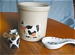 Click here to enlarge image and see more about item prp08083: Robinson Ransbottom Cow Crock, Spoonrest, and Toothpick