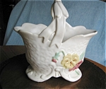 Click here to enlarge image and see more about item pwel01031: Vintage Weller Delsa Basket Vase