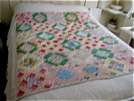 Click here to enlarge image and see more about item quilt120513: Vintage Hand Stitched Small Quilt
