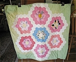 Click here to enlarge image and see more about item quilt40621: Small Hand Stitched Vintage Quilt
