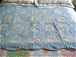 Click here to enlarge image and see more about item quilt90507: Antique Hand Stitched Small Blue Quilt