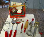Click here to enlarge image and see more about item redcollectibles2013: Vintage Red Kitchen Grouping