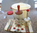 Click here to enlarge image and see more about item redgraniteware2013: Vintage Graniteware Pot & Jars