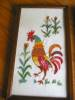 Click to view larger image of Vintage Crewel Embroidered Rooster Pictures (Image2)