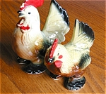 Click here to enlarge image and see more about item roosters50427: Vintage Cold Painted Rooster Shakers
