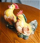 Click here to enlarge image and see more about item roosters504301: Vintage Rooster and Hen Figurines