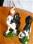 Click here to enlarge image and see more about item roosters50430: Vintgage Rooster and Hen Figurine Pair