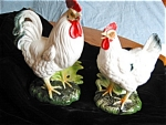 Click here to enlarge image and see more about item roosters70415: Vintage Napcoware Rooster Figurines