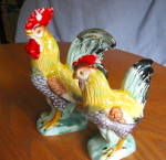 Click here to enlarge image and see more about item roosters90409: Vintage Ceramic Rooster & Hen
