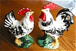 Click here to enlarge image and see more about item roosters904141: Vintage Japan Rooster and Hen Figurines