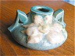 Click here to enlarge image and see more about item rose10031: Vintage Roseville Clematis Candleholder