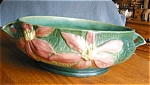 Large Roseville Pottery Clematis vase. c:1944. This vase has the raised mark on bottom: Roseville U.S.A. 459-10. Signed 'A' in blue, and a number in blue. It is 4 tall; has 2 grey lines on interior of...