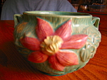 Small vintage Roseville Pottery Clematis jardinière for sale. c:1944. Gorgeous jard; marked on bottom: Roseville U.S.A. 667-4;, and has some other marks, might be artist's marks. It is 4.5 tall x 4.25...