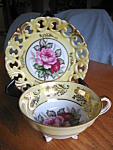 Click here to enlarge image and see more about item royalsealy1007: Royal Sealy Footed Cutout Teacup