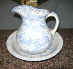 Click here to enlarge image and see more about item rrpco080812: Ransbottom Spongeware Pitcher & Bowl