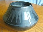 Click here to enlarge image and see more about item santaclara10820: Santa Clara Black Pottery Vase Signed
