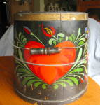 Click here to enlarge image and see more about item sapbucket060710: Antique Tole Painted Sap Bucket Firkin
