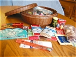 Click here to enlarge image and see more about item sew80519: Antique Sewing Basket Assortment