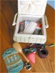Click here to enlarge image and see more about item sewbasket120525: Sewing Basket & Notions