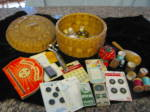 Click here to enlarge image and see more about item sewbasket3013: Vintage Sewing Basket Assortment