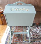 Click here to enlarge image and see more about item sewcabinet010511b: Vintage Painted Sewing Caddy w/Notions