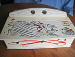 Click here to enlarge image and see more about item sewcaddy10713: Vintage Sewing Case and Notions