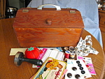 Click here to enlarge image and see more about item sewcaddy30703: Vintage Wood Sew Box and Notions