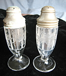 Click here to enlarge image and see more about item shakers20725: Antique Etched Glass Shakers