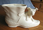 Click here to enlarge image and see more about item shawnee907: Vintage Shawnee Dog and Shoe Planter