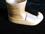 Click here to enlarge image and see more about item shoe120421: Vintage Carved Wood Shoe