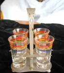 Click here to enlarge image and see more about item shots110509: Vintage Shot Glasses and Stand