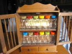 Colorful Vintage Spice Jars & Rack