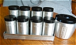 Click here to enlarge image and see more about item spice10521: Kromex Spice Set and Grease Jar