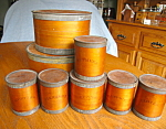 Click here to enlarge image and see more about item spice30820: Antique Birch Spice Containers