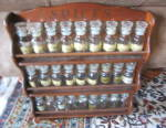 Click here to enlarge image and see more about item spiceset020612: Vintage Wood Spice Set