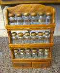 Click here to enlarge image and see more about item spiceset765: Wood Spice Jars w/Rack