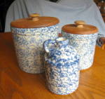 Click here to enlarge image and see more about item spongeware060710: Friendship Pottery Sponge Crocks & Jug