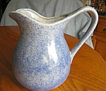 Click to view larger image of Vintage Blue Spongeware Pitcher (Image1)