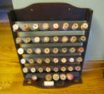 Click here to enlarge image and see more about item spoolrack090912: Vintage Oak Spool Rack
