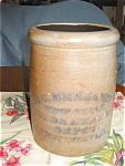 Click here to enlarge image and see more about item stn06062: Antique Jas Benjamin Saltglaze Crock
