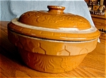 Click here to enlarge image and see more about item stoneware10603a: Antique Stoneware Dutch Oven
