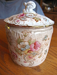 Click here to enlarge image and see more about item sugar10713a: Antique English Earthenware Sugar Jar