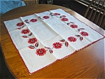 Click here to enlarge image and see more about item tablered12031: Embroidered Red Flowers Tablecloth