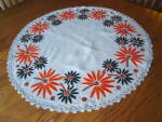 Click here to enlarge image and see more about item tableround1014: Vintage Embroidered Table Round